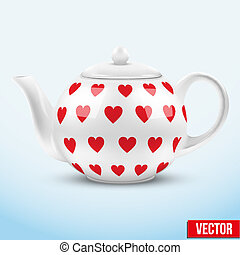 White ceramic teapot with hearts texture. Vector illustration.