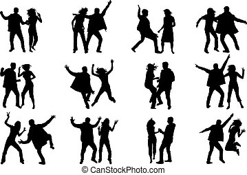 Couple dancing. Silhouettes of people.