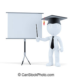 Student presenting in front of a blank board. Isolated. Contains clipping path of scene and blank board