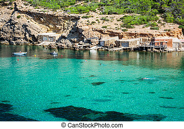 Ibiza Cala Benirras beach in san Joan at Balearic Islands Spain