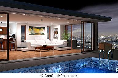 現代, 房子, 由于, 池