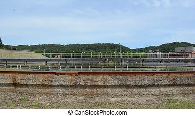 treatment plant pool bird - Closeup of sewage waste water...