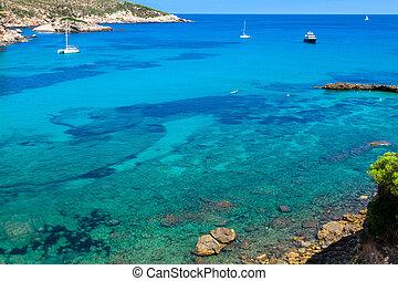 Ibiza Punta de Xarraca turquoise beach paradise in Balearic...