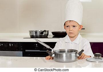 sério, olhar, pequeno, cozinheiro, cozinha