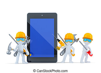 Construction team with tablet computer. Isolated. Contains clipping path