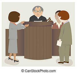 Judge Lawyers Courtrooom - A courtroom scene with judge,...