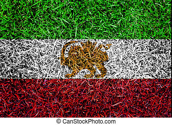 Iran Flag color grass texture background