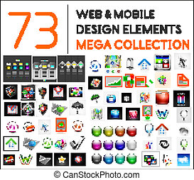 Mega collection of web mobile design elements - icons,...