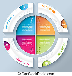 Abstract infographic design with circle and four segments....