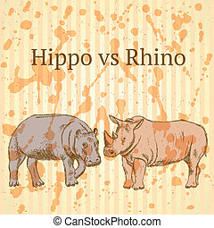 Sketch hippo vs rhino, vector seamless pattern eps 10 -...