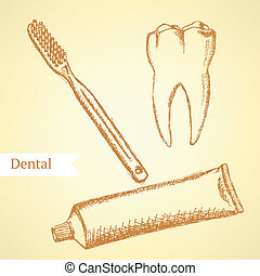 Sketch tooth paste, tooth brush and teeth, vector background...