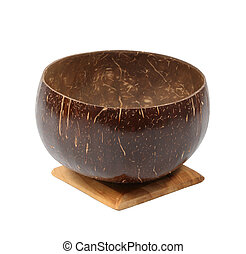 coconut shell cup on white