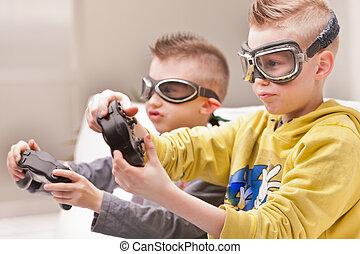 poco, vídeo, juego, Pilotos, niños