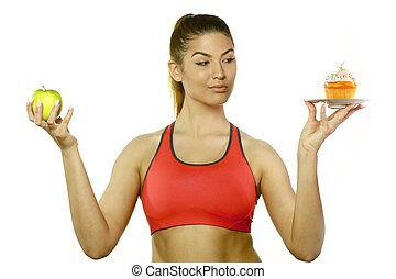 Tough Nutrition Choices - Attractive Woman Dessert Choice...