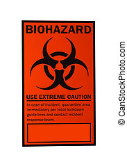 biohazard sign isolated on white with clipping path at...