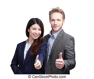 Business man and woman isolated on white background, asian...
