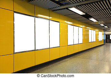 Blank Billboard in metro subway station shot in asia, hong...