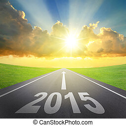 Forward to 2015 new year concept , asphalt road with arrow ,...