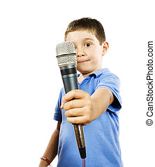 Karaoke kid - Stock photo of boy holding microphone,...