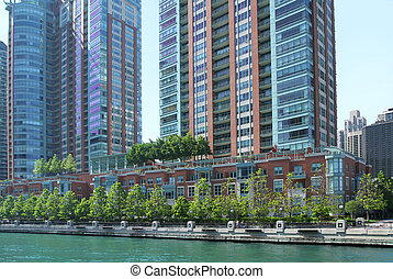 Chicago Riverwalk - The view of Chicago's Riverwalk lined...