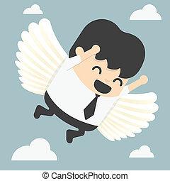 businessman flying freedom