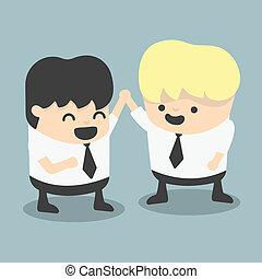 businessman and boss high five Congratulate