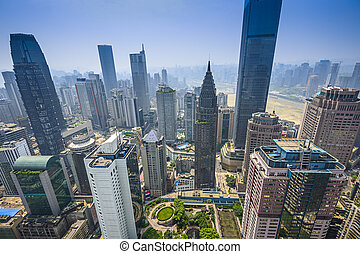 Chongqing, China financial district aerial skyline.