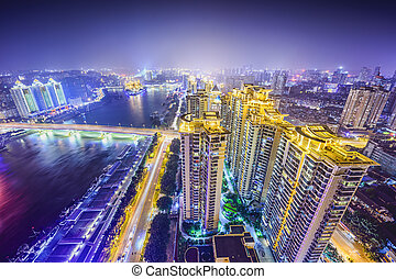 Fuzhou, China - Fuzhou, Fujian, China cityscape on the Ming...