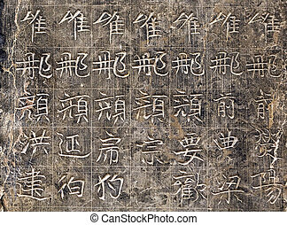 Chinese hieroglyphs carved on the stone
