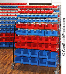 Rolling storage cart - Blue and red mobile rolling storage...