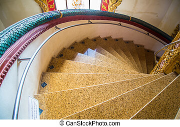 spiral staircase - Spiral staircase in the temple of...