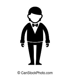 Silhouetted Man in Black Suit with Bow Tie. Vector