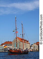 Yacht entering Copenhagen haven