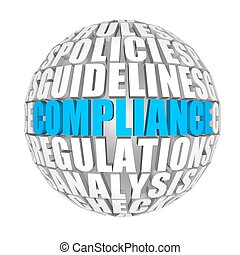 Compliance - circle words on the ball on the topics