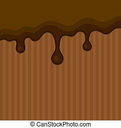 Milk Melted Chocolate Streams Background. Vector...