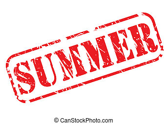 Summer stamp with red text on white