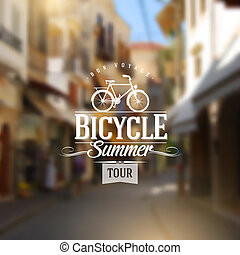 Type vintage design with bicycle silhouette against a old...