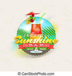 Tropical summer type design with cocktail glass - vector illustration