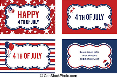 Vector 4th of july labels or cards . illustration
