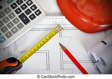 Desk Engineer - Construction drawings, tape line, calculator...