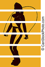 Woman Skipping Vector Clipart