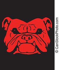 Red Bulldog Vector Clipart Design