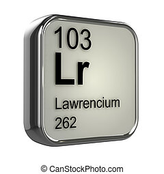 3d Lawrencium periodic table element - 3d render of...
