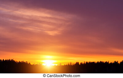 Sunset in winter at low temperature