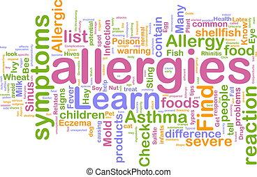 alergias, palavra, nuvem