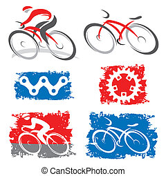 Cyclists and cycling elements icons - Colorful icons of...