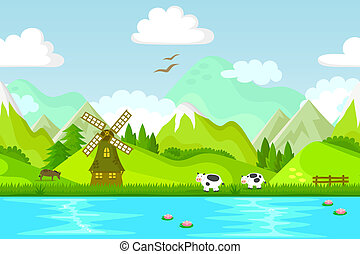 rural backround - seamless background with windmill and farm...