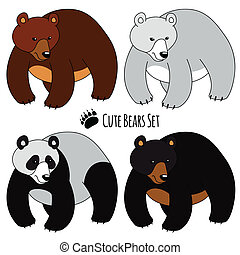 Bears Set - Set of Four Bears, isolated Brown, White, Panda...