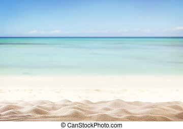 Summer beach background - Sandy summer beach with blur sea...