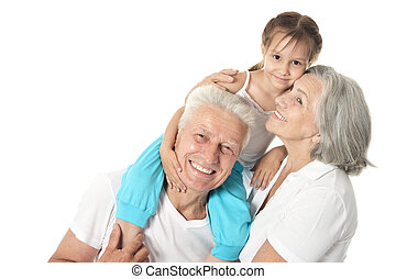 Grandparents with little girl - Happy Grandparents with...